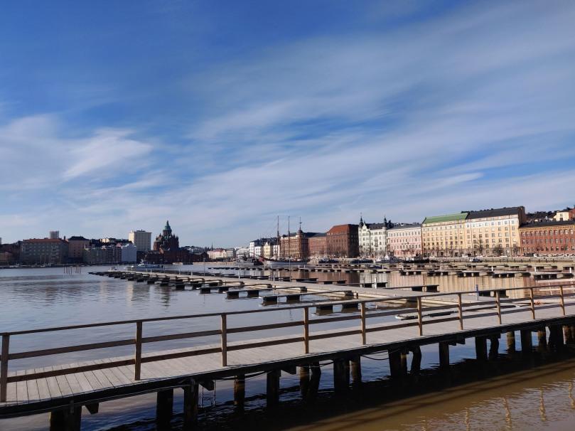 Photo looking at Eira buildings in Helsinki, seaside
